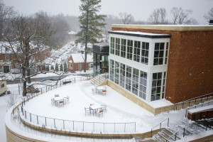 The new library wing, as seen from Fletcher Hall. Copyright Sweet Briar College. Photo by Meridith De Avila Khan.